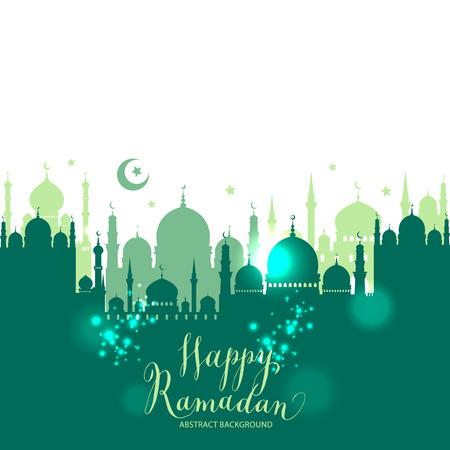 이슬람 추상 인사말 배너입니다. 일몰시 이슬람 벡터 일러스트 레이 션. 붓글씨 아라비아 언어 번역가 이드 무바라크 축하합니다! 일러스트