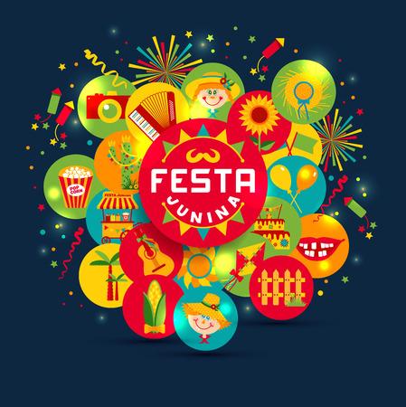 Festa Junina dorpsfeest in Latijns-Amerika. Pictogrammen in felle kleuren. Flat stijl ingericht.