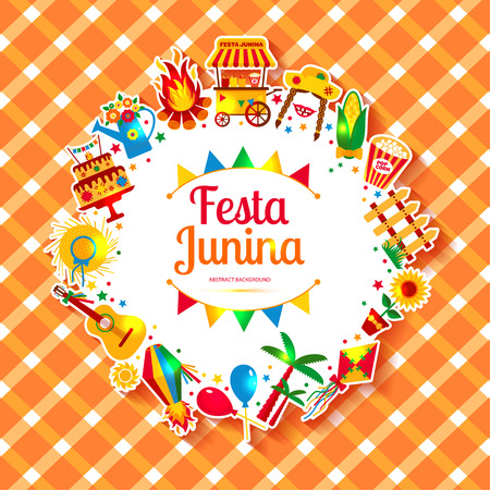hick: Festa Junina village festival in Latin America. Icons set in bright color. Festival style decoration. Illustration