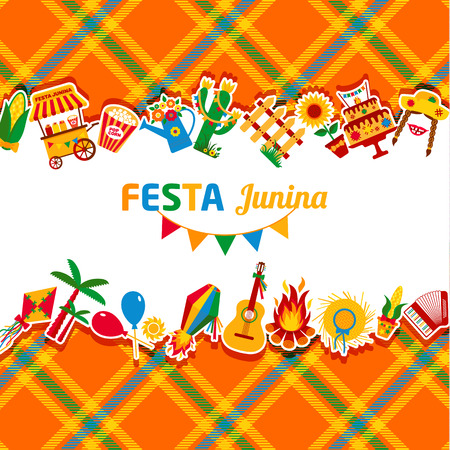 june: Festa Junina village festival in Latin America. Icons set in bright color. Festival style decoration. Illustration