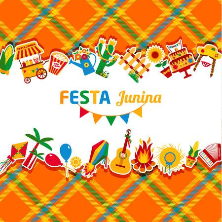 fiesta de pueblo Fiesta Junina en América Latina. De conjunto de iconos de color brillante. decoración de estilo festival. Ilustración de vector