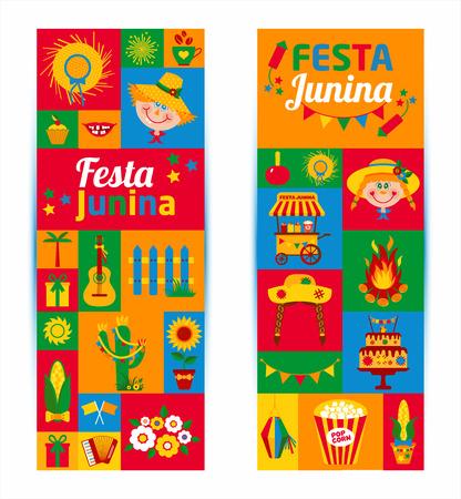 Festival Village Festa Junina in America Latina. Icons set in colore brillante. decorazione in stile piatto. Banners Set.