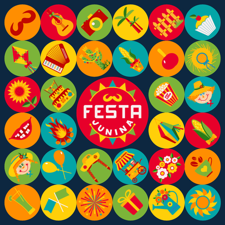 palm wreath: Festa Junina village festival in Latin America. Icons set in bright color. Flat style decoration.