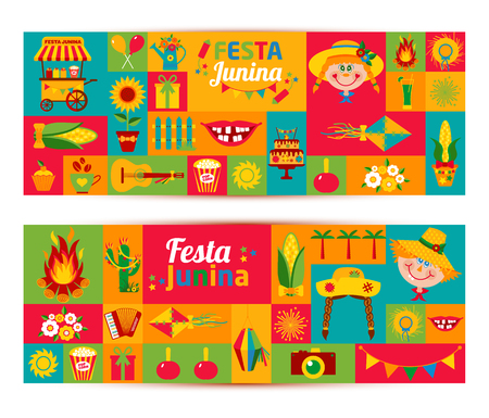 palm wreath: Festa Junina village festival in Latin America. Icons set in bright color. Flat style decoration. Banners set. Illustration