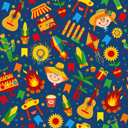 Festa Junina village festival in Latin America. Icons set in bright color. Flat style decoration. Seamless pattern on dark blue. Ilustracja