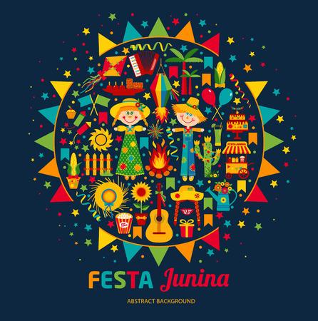 라틴 아메리카 축제 Junina 마을 축제. 아이콘은 밝은 색을 설정합니다. 플랫 스타일의 장식입니다. 스톡 콘텐츠 - 58508650