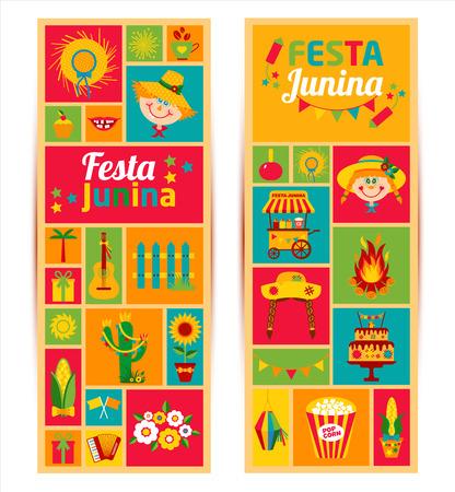 Festival Village Festa Junina in America Latina. Icons set in colore brillante. decorazione in stile piatto. Banners Set. Vettoriali
