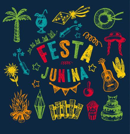 folk village: Hand drawn elements of Festa Junina village festival.
