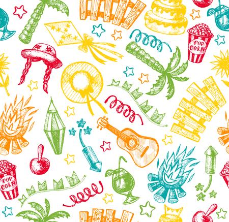 hick: Hand drawn elements of Festa Junina village festival. Seamless pattern.