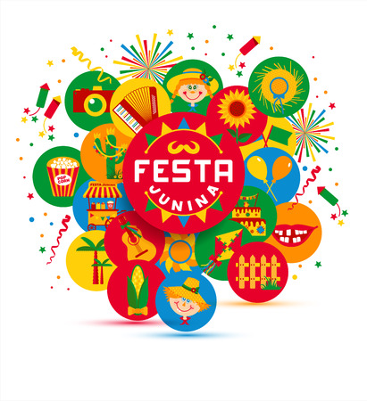 Festa Junina dorpsfeest in Latijns-Amerika. Pictogrammen in felle kleuren. Flat stijl ingericht. Vector Illustratie