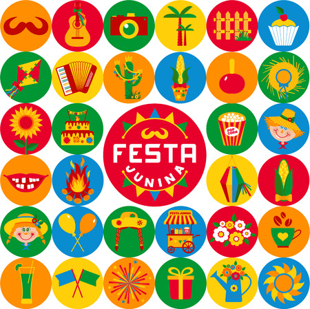 festa: Festa Junina village festival in Latin America. Icons set in bright color. Flat style decoration.
