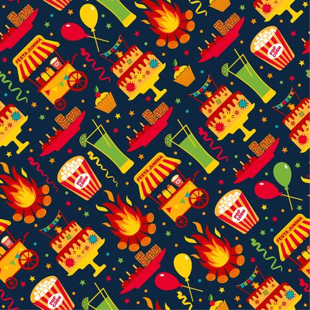 vintage patterns: Seamless pattern of festa Junina village festival in Latin America. Icons set in bright color. Flat style decoration. Illustration