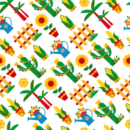 party night: Seamless pattern of festa Junina village festival in Latin America. Icons set in bright color. Flat style decoration. Illustration