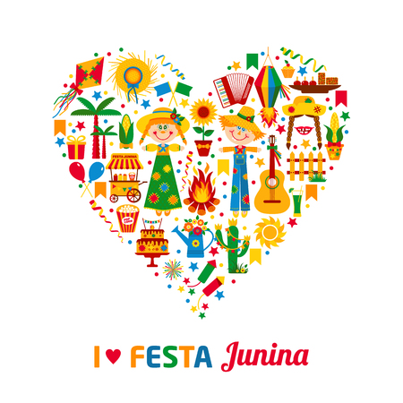 palm wreath: Festa Junina village festival in Latin America. Icons set in bright color. Flat style decoration. I love festa junina. Heart of color icon set.