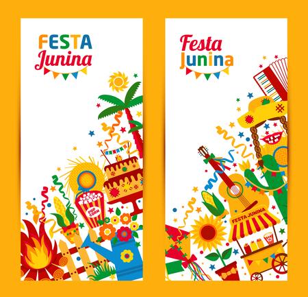 Festa Junina dorpsfeest in Latijns-Amerika. Pictogrammen in felle kleuren. Flat stijl ingericht. Banners set.