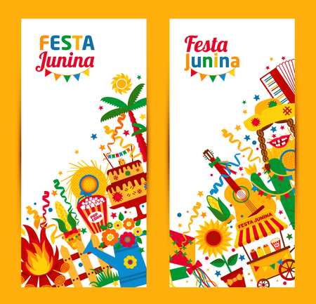 Festa Junina village festival in Latin America. Icons set in bright color. Flat style decoration. Banners set.