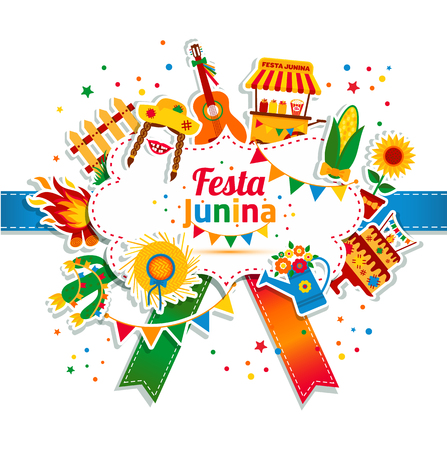 Festa Junina village festival in Latin America. Icons set in bright color. Flat style decoration.