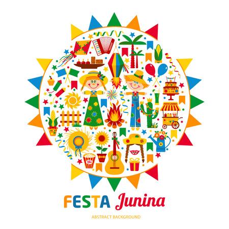 Festa Junina village festival in Latin America. Icons set in bright color. Flat style decoration. Vektorové ilustrace