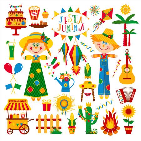 hick: Festa Junina village festival in Latin America. Icons set in bright color. Flat style decoration.