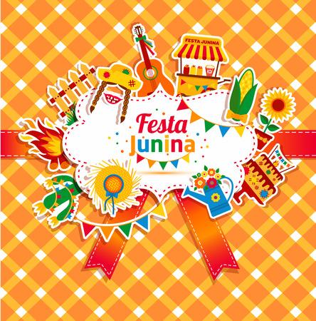 john: Festa Junina village festival in Latin America. Icons set in bright color. Flat style decoration.