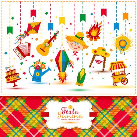 john: Festa Junina village festival in Latin America. Icons set in bright color. Festival style decoration. Illustration