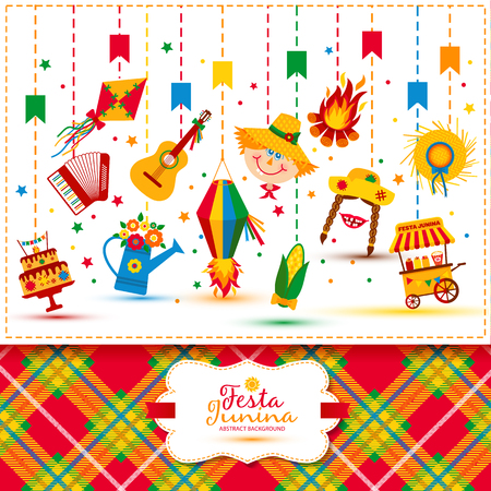 Festa Junina village festival in Latin America. Icons set in bright color. Festival style decoration. Illustration