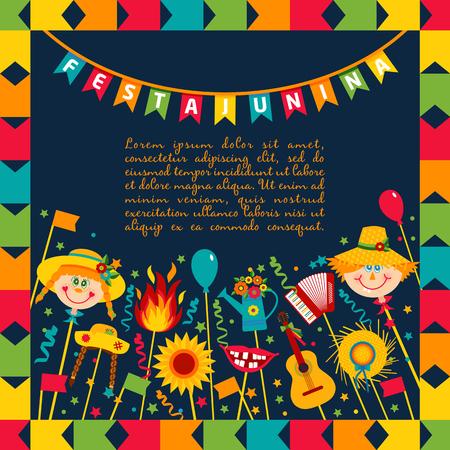 Festa Junina Dorffest in Brasilien. Banner Layout. Vektorgrafik