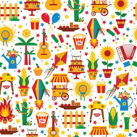 Festa Junina dorpsfeest in Latijns-Amerika. Pictogrammen in felle kleuren. Vlakke stijldecoratie. Naadloos patroon. Vector Illustratie