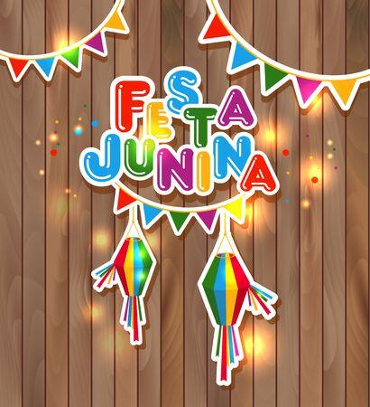 festa: Festa Junina vector illustration on wooden Illustration