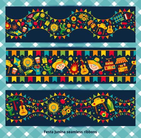 festa: ribbon of festa Junina village festival. Festa Junina village festival in Brasil. Banner layout.