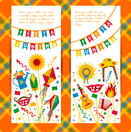 hick: Festa Junina village festival in Latin America. Icons set in bright color. Flat style decoration. Banners set. Illustration