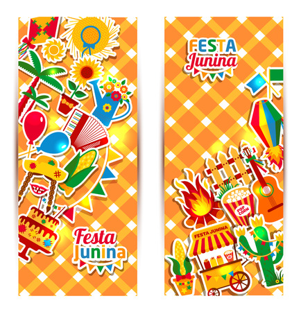 Festa Junina village festival in Latin America. Icons set in bright color. Flat style decoration. Banners set. Vektorové ilustrace