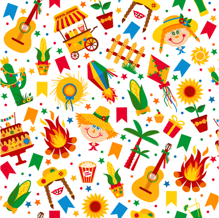 hick: Festa Junina village festival in Latin America. Icons set in bright color. Flat style decoration. Seamless pattern.