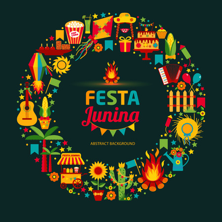 june: Festa Junina village festival in Latin America. Icons set in bright color. Flat style decoration.