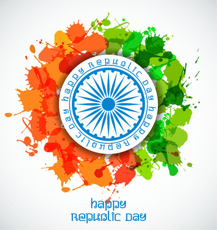 Happy Indian Republic Day celebration concept with Ashoka Wheel on national flag of color blots.