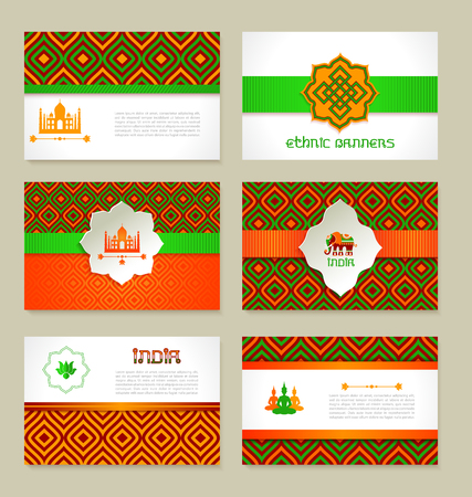 hollidays: Set of ethnic Indian banners in national colors. layout design. Illustration