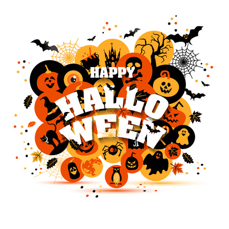 ghost town: Helloween backgrouns set of color icons. Autumn design vector illustration. Illustration