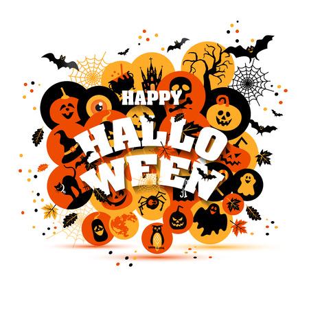 backgrouns: Helloween backgrouns set of color icons. Autumn design vector illustration. Illustration