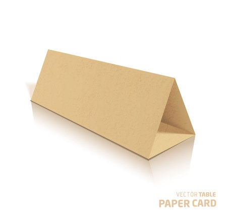 assign: 3d table papercraft card isolated on a grey background. Vector realistic. Illustration