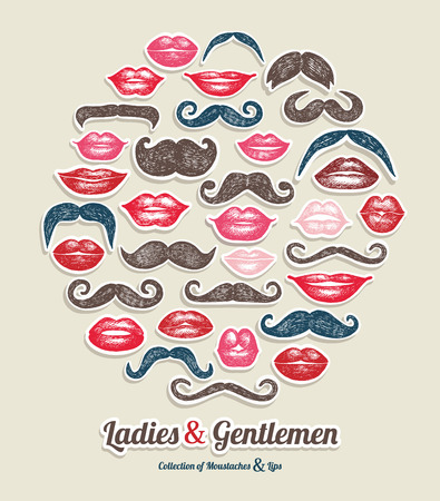 dali: Stickers collection of moustaches and lips. Vector illustration of trend symbols. Illustration