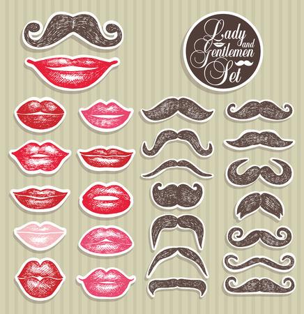 Pegatinas colección de bigotes y los labios. Ilustración del vector de símbolos de tendencia.