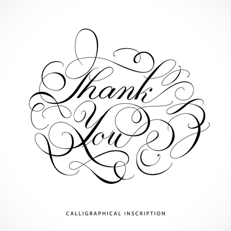 calligraphical: Calligraphical inscription Thank you