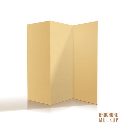 Blank tri-fold brochure design isolated. Paper craft. Vektorové ilustrace
