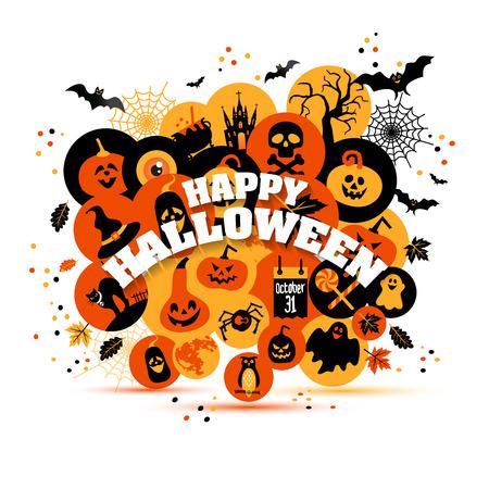 Helloween backgrouns set of color icons. Autumn design vector illustration. Illustration