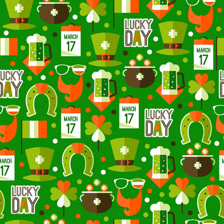 patrik day: St patricks day seamless pattern in traditional Irish national colors