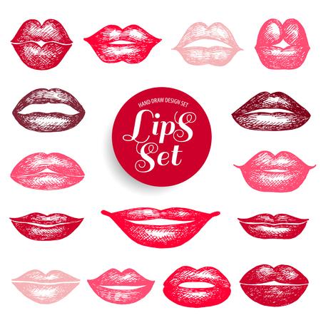 lip: Lips set. design element. Illustration