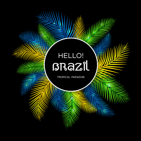 plage: Welcome to Brazil! Vector illustration of color palm.