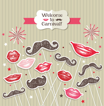 dali: Stickers collection of mustaches and lips. Vector illustration.
