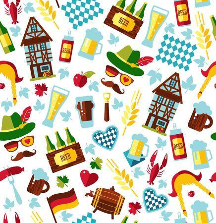 banger: Seamless pattern with oktoberfest celebration symbols. Vector illustration. Flat design.