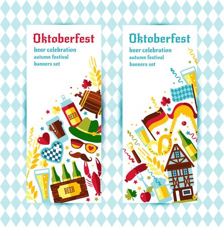 beer house: Flat design vector banners set with oktoberfest celebration symbols. Oktoberfest celebration design with Bavarian hat and autumn and germany symbols.Autumn banner on blue background. Vertical position